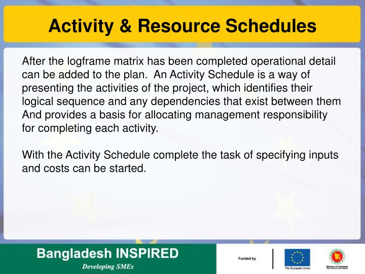 Activity & Resource Schedules