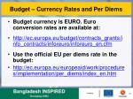 budget currency rates and per diems