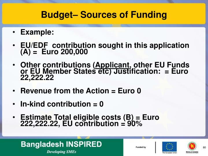 Budget– Sources of Funding