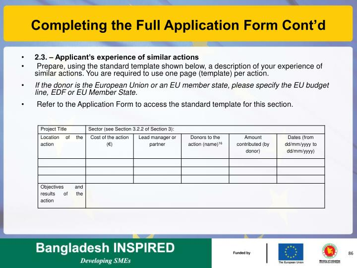Completing the Full Application Form Cont'd