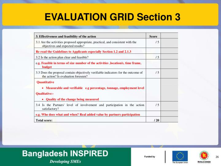 EVALUATION GRID Section 3