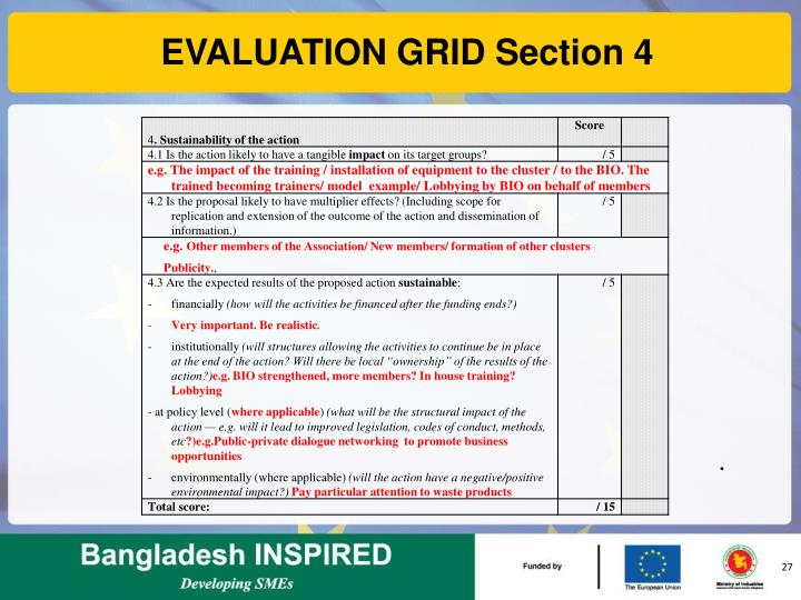 EVALUATION GRID Section 4
