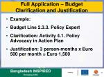 full application budget clarification and justification