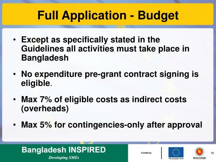Full Application - Budget