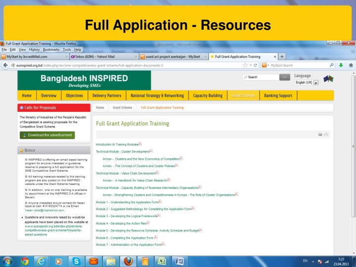 Full Application - Resources
