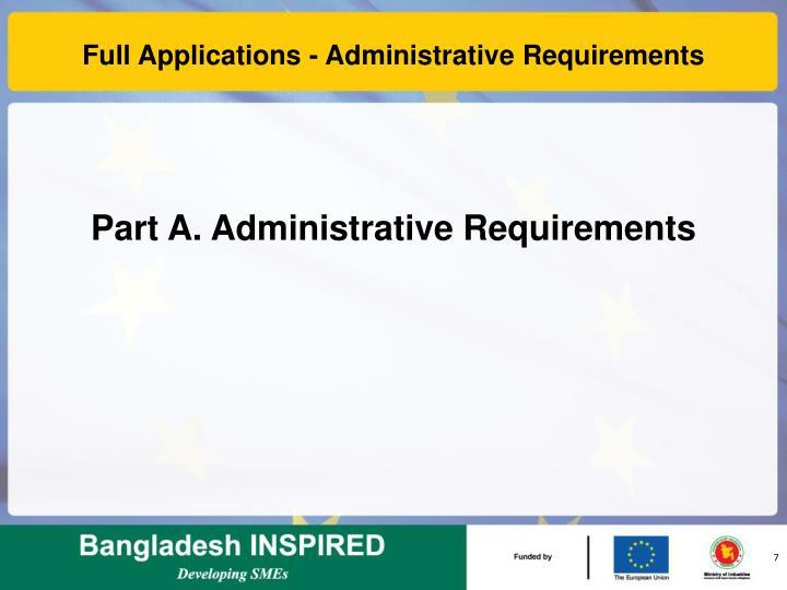 Full Applications - Administrative Requirements