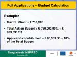 full applications budget calculation