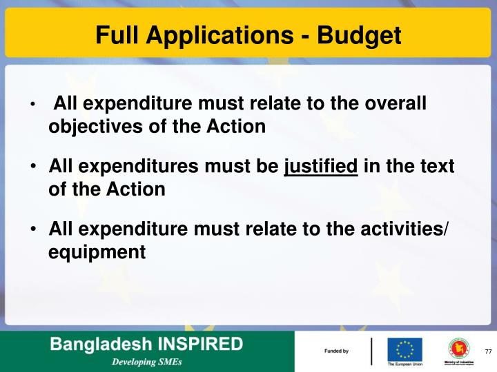Full Applications - Budget