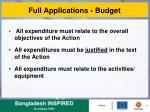 full applications budget