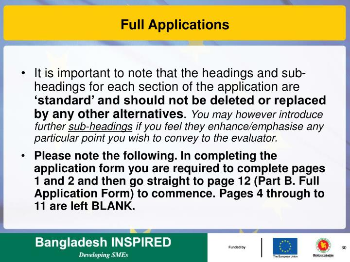 Full Applications