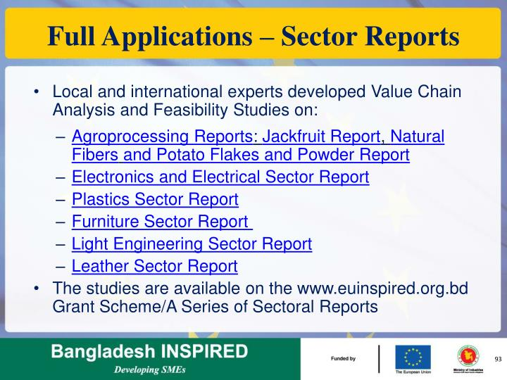 Full Applications – Sector Reports