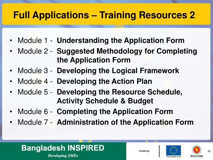 Full Applications – Training Resources 2