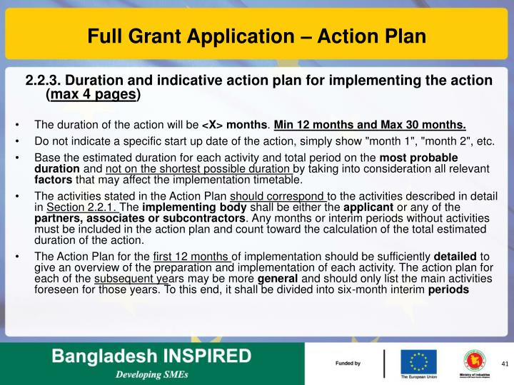 Full Grant Application – Action Plan