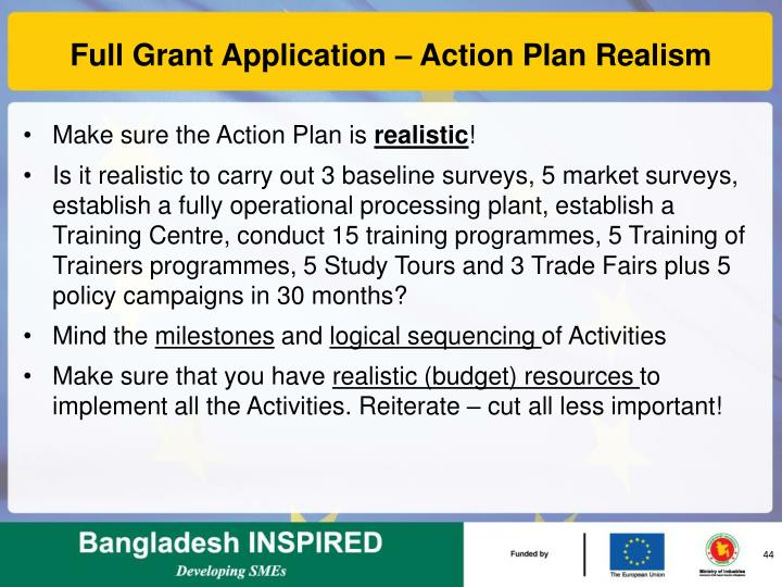 Full Grant Application – Action Plan Realism