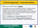 full grant application action plan realism