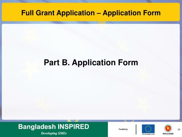 Full Grant Application – Application Form