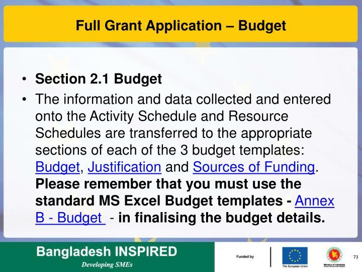 Full Grant Application – Budget
