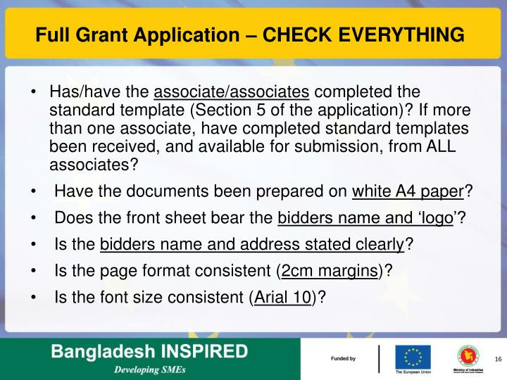 Full Grant Application – CHECK EVERYTHING