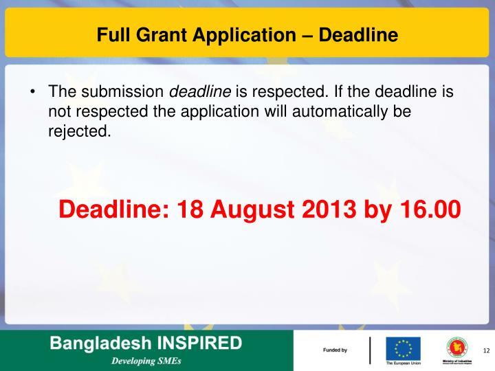 Full Grant Application – Deadline