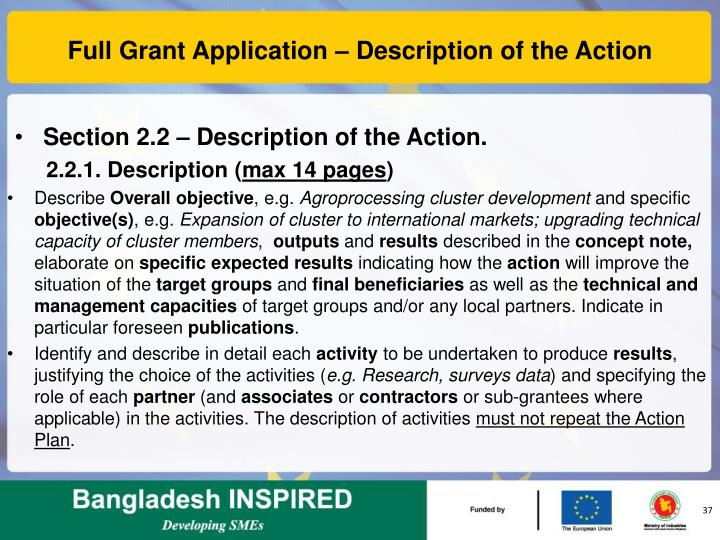 Full Grant Application – Description of the Action