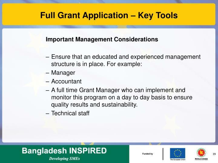 Full Grant Application – Key Tools