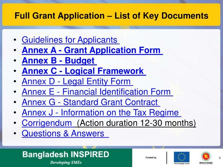 Full Grant Application – List of Key Documents
