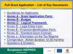 full grant application list of key documents