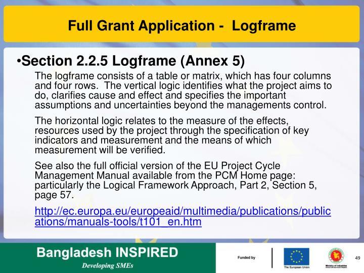 Full Grant Application -  Logframe