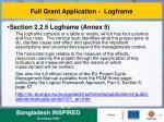 full grant application logframe