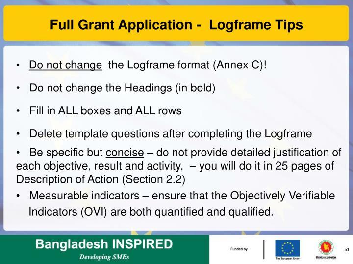 Full Grant Application -  Logframe Tips