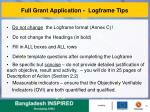 full grant application logframe tips