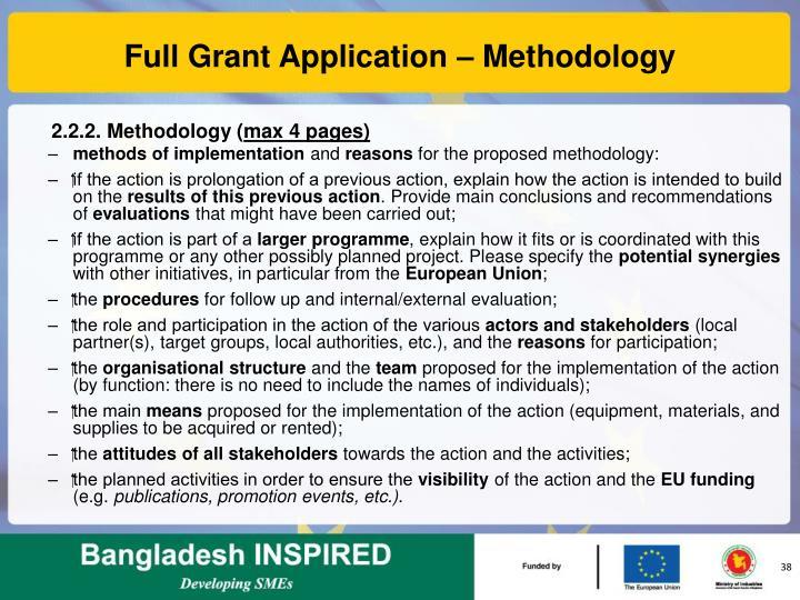 Full Grant Application – Methodology