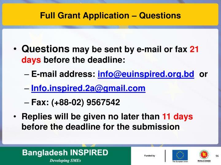 Full Grant Application – Questions