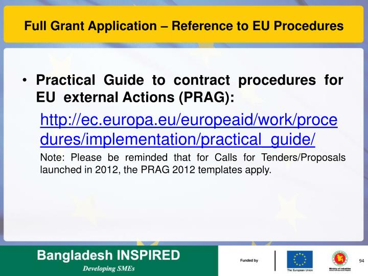Full Grant Application – Reference to EU Procedures
