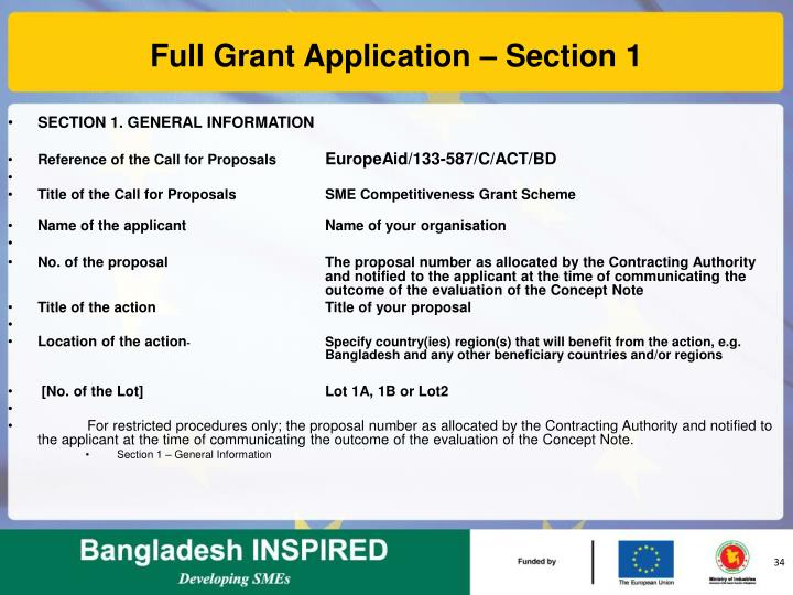 Full Grant Application – Section 1
