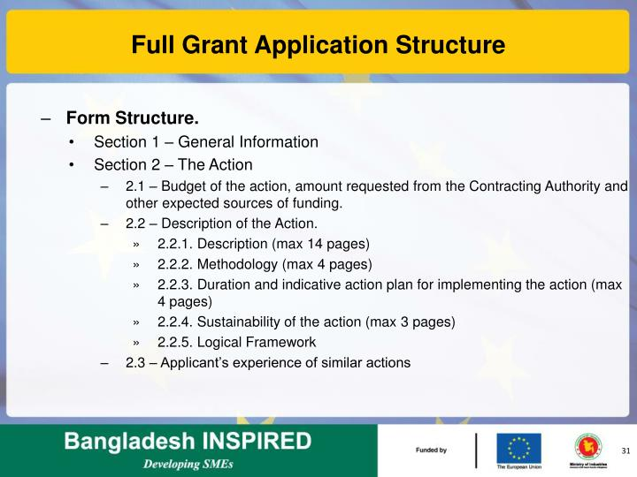 Full Grant Application Structure