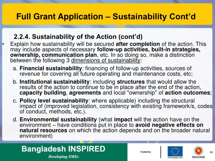 Full Grant Application – Sustainability Cont'd