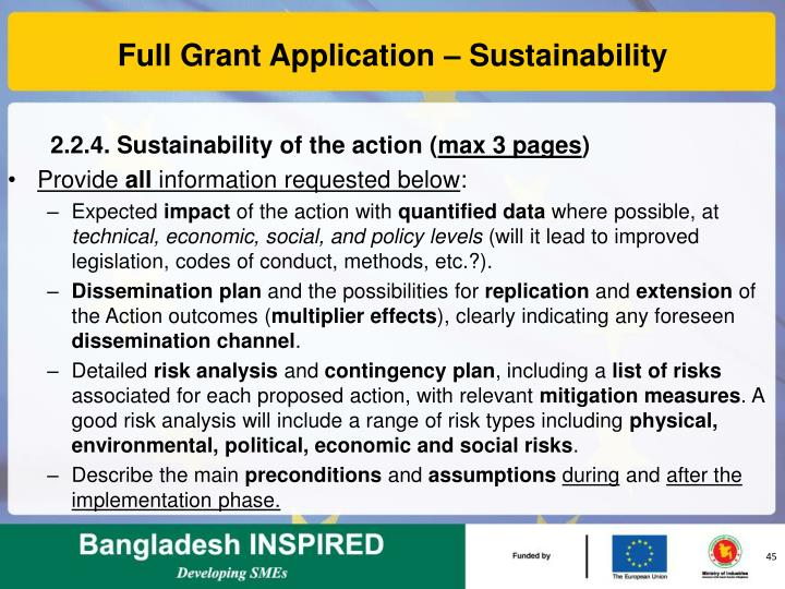 Full Grant Application – Sustainability