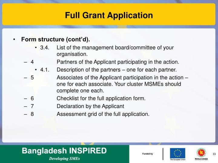 Full Grant Application
