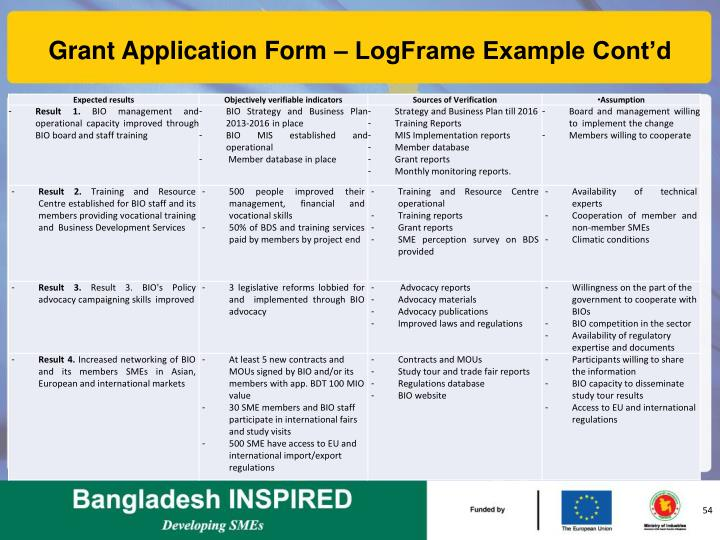 Grant Application Form – LogFrame Example Cont'd