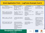 grant application form logframe example cont d