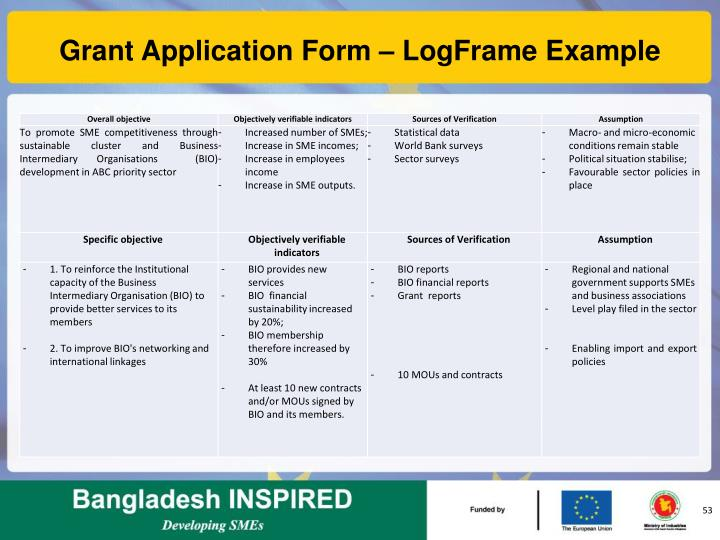 Grant Application Form – LogFrame Example