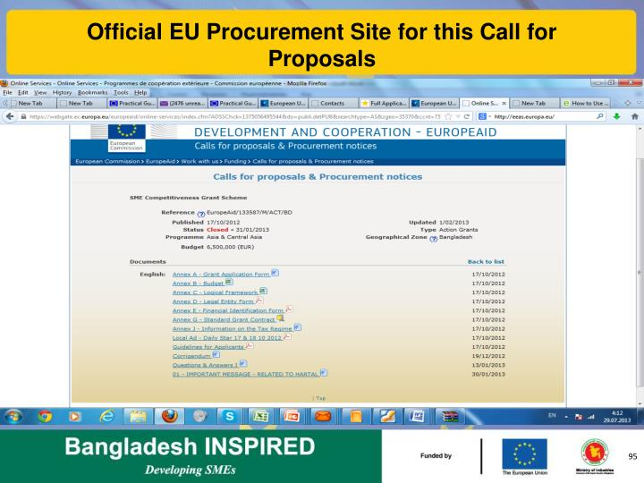 Official EU Procurement Site for this Call for Proposals
