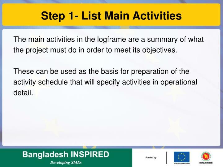 Step 1- List Main Activities