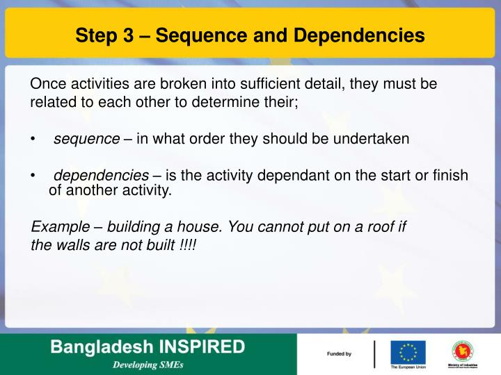 Step 3 – Sequence and Dependencies