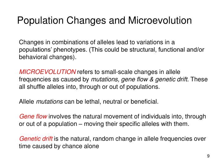 Population Changes and Microevolution