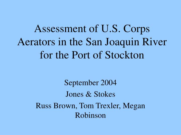Assessment of u s corps aerators in the san joaquin river for the port of stockton