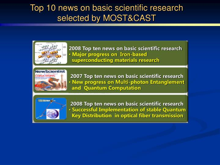 Top 10 news on basic scientific research selected by MOST&CAST