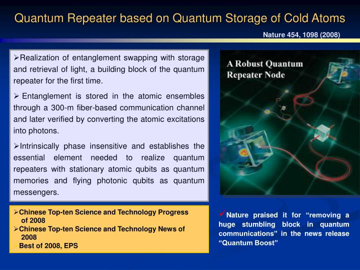 Quantum Repeater based on Quantum Storage of Cold Atoms