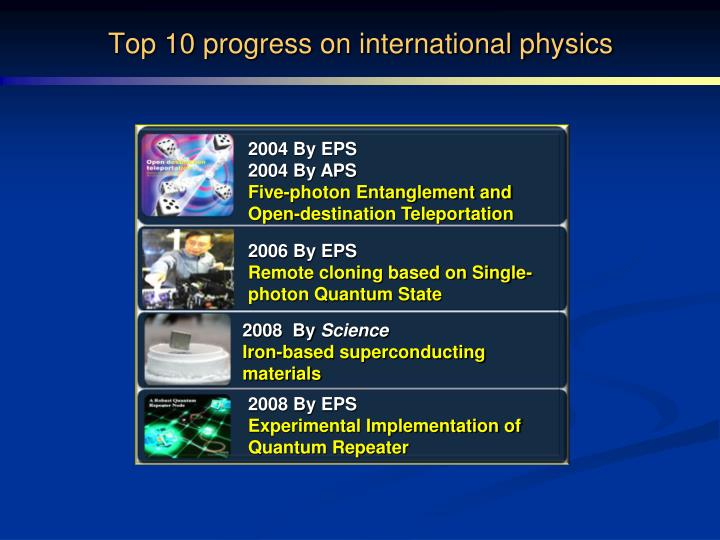 Top 10 progress on international physics